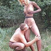 Hose bonks forest couple.