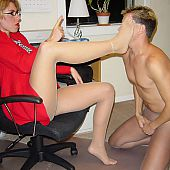 Cutie and boy the one and the other are in hose taking enjoyment in the office.