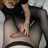 Real amateurs having wild sex both, chap and woman are in pantyhose.