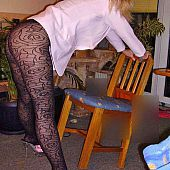 Posing patterned pantyhose amateur.