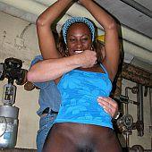 Dark gal in seamless hose fastened by pervert man.